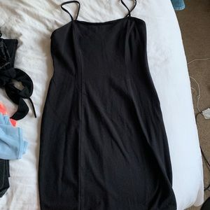 Black mini dress with seams